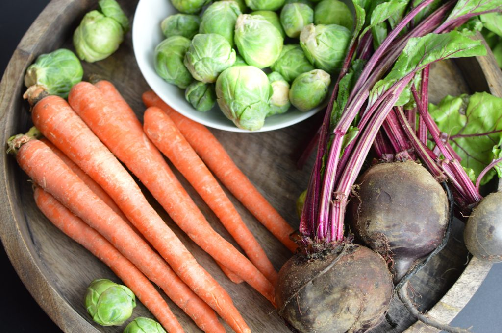 Roasted carrots, brussel sprouts and beets