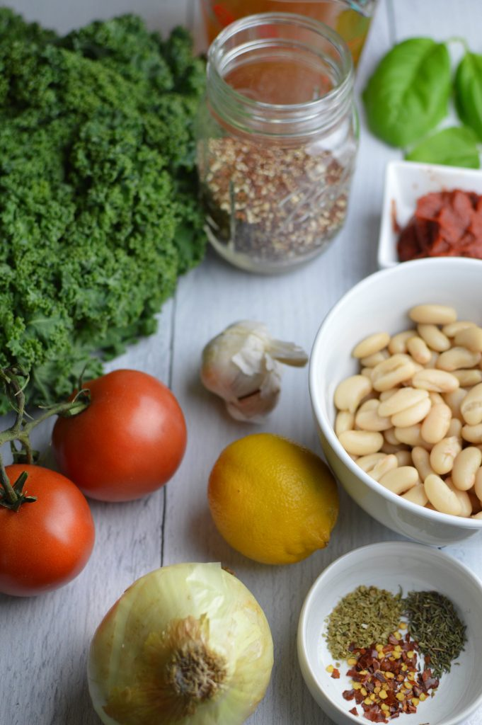 Ingredients for the Cannellini and Quinoa Skillet