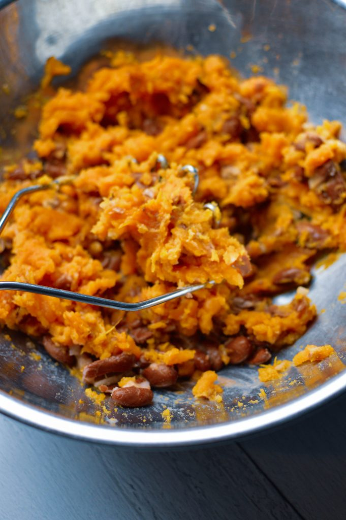 Sweet potato bean burger with mashed ingredients