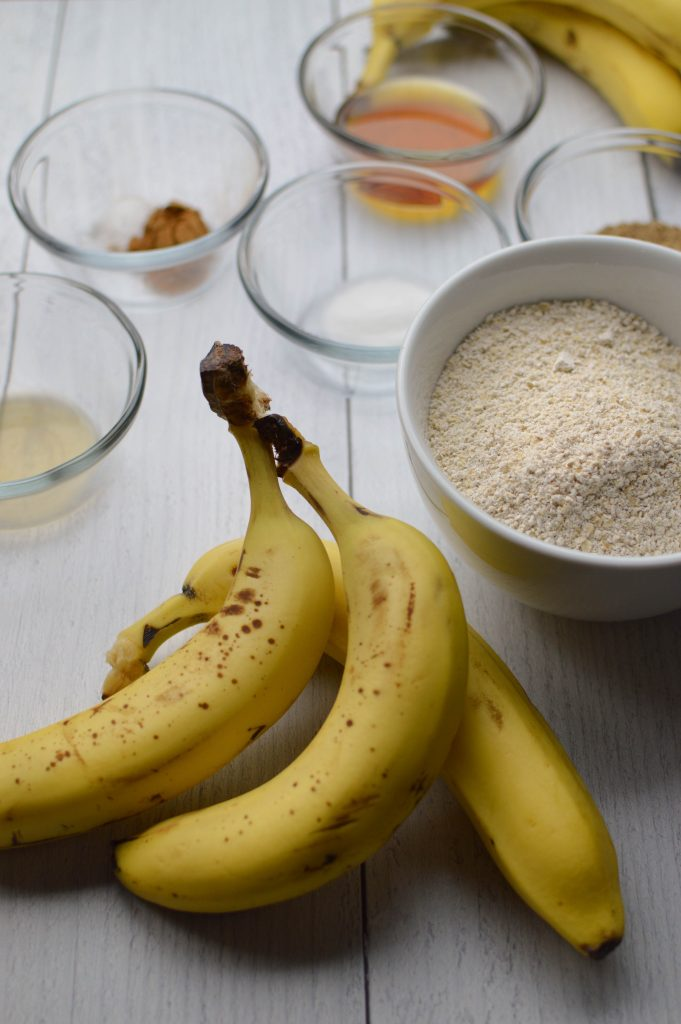 Ingredients for the oat flour banana bread