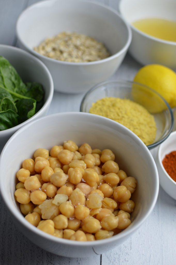 Ingredients for Vegan Chickpea Spinach Patties