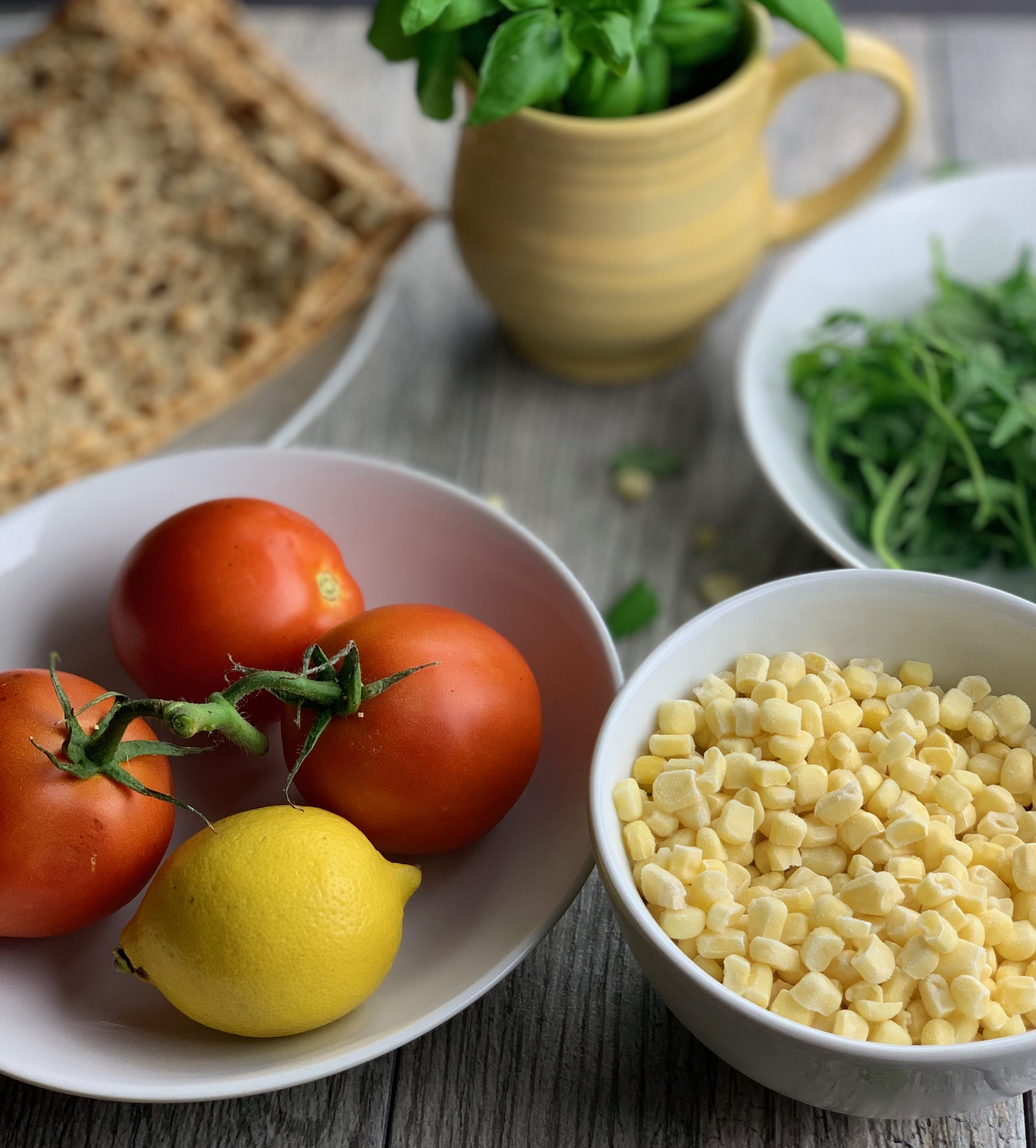 Ingredients for the Sweet Corn and Tomato Flatbread